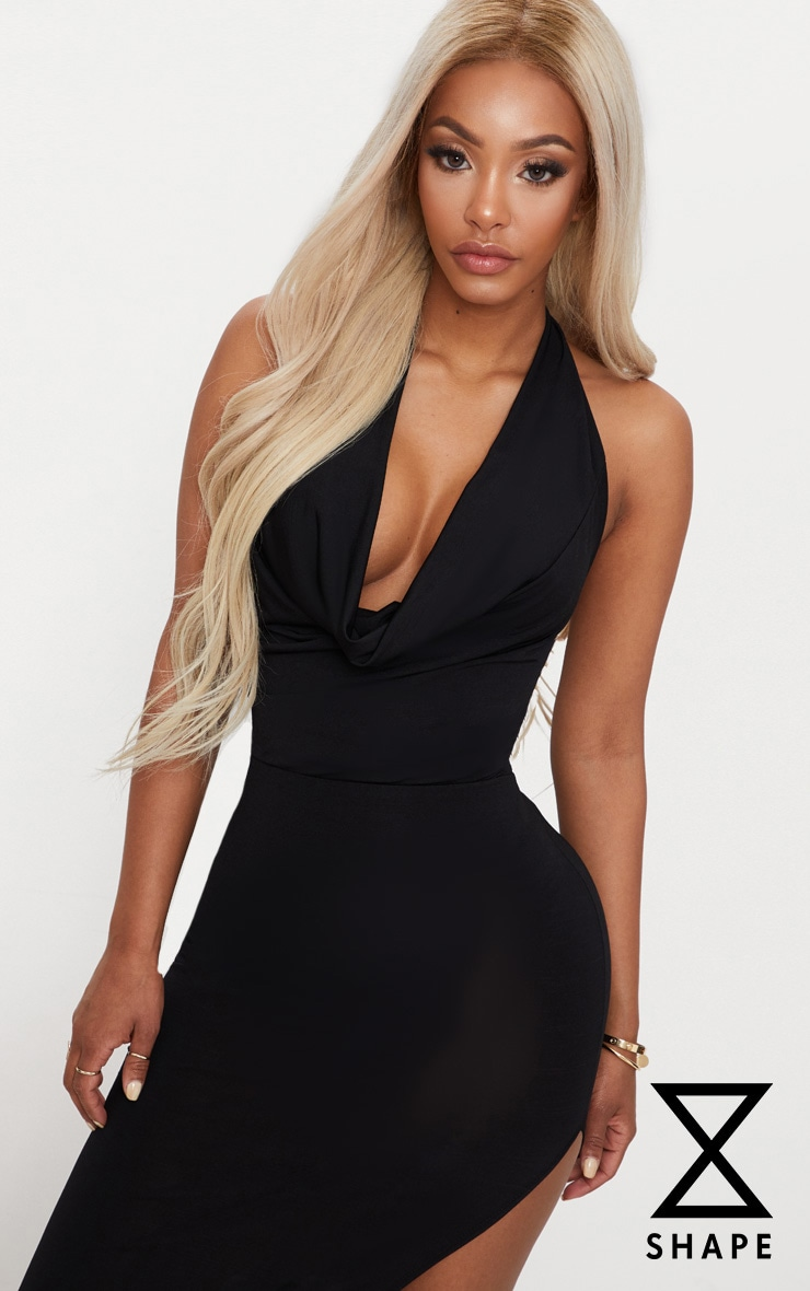 Shape Black Slinky Cowl Neck Bodysuit 1