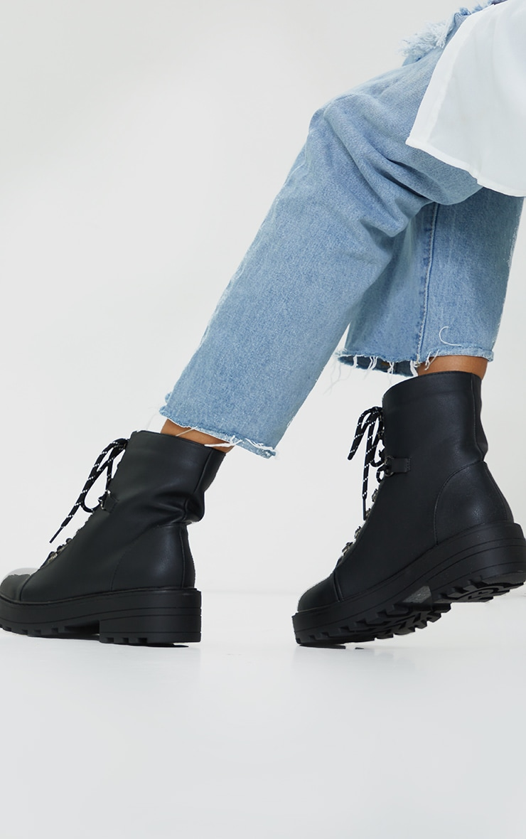 Black Soft Touch PU Chunky Hiker Laces Boots 2
