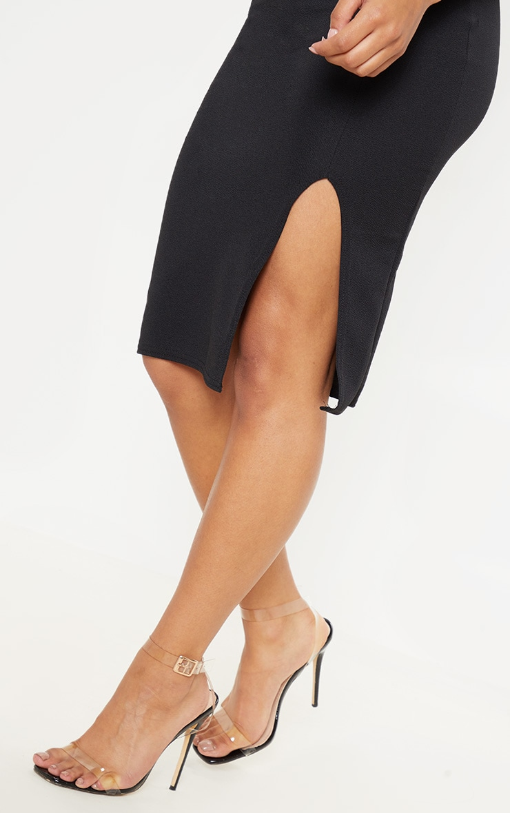 Basic Black Split Midi Skirt  5