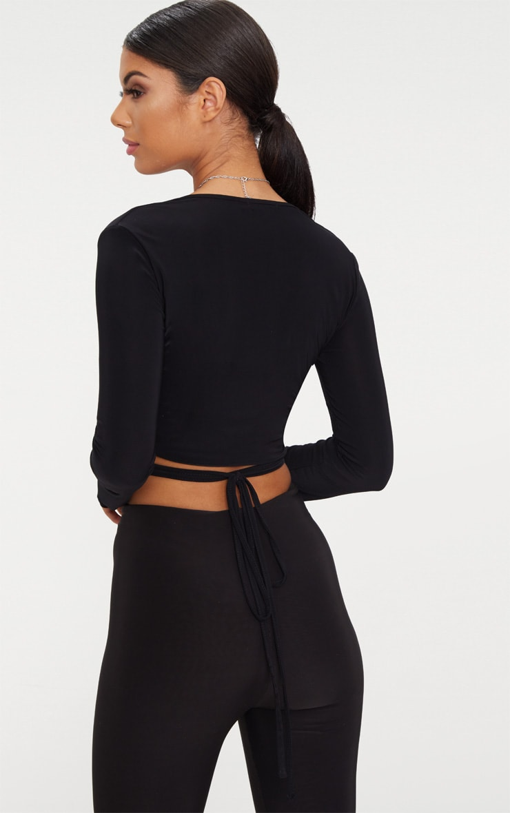 Black Slinky Long Sleeve Tie Waist Crop Top 2