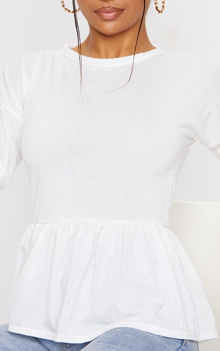 White Frill Hem T Shirt 4