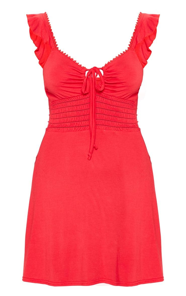 Red Trim Detail Tie Front Shirred Tea Dress 3