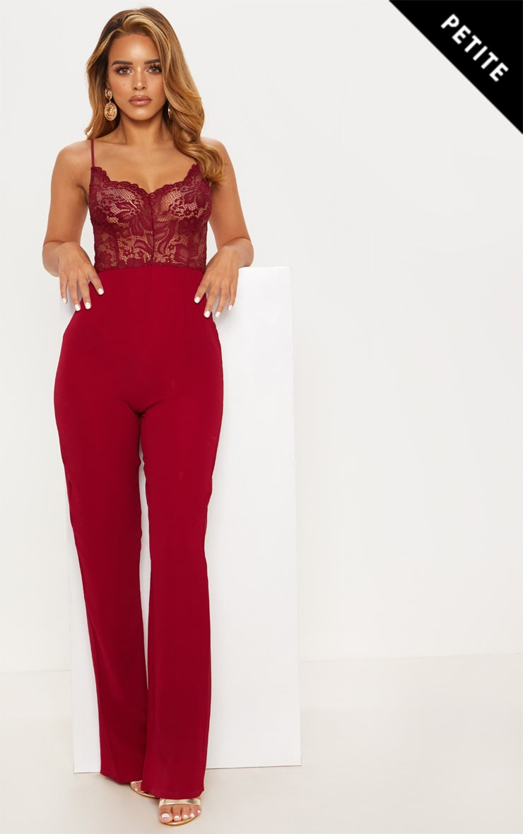 Petite Burgundy Lace Wide Leg Jumpsuit