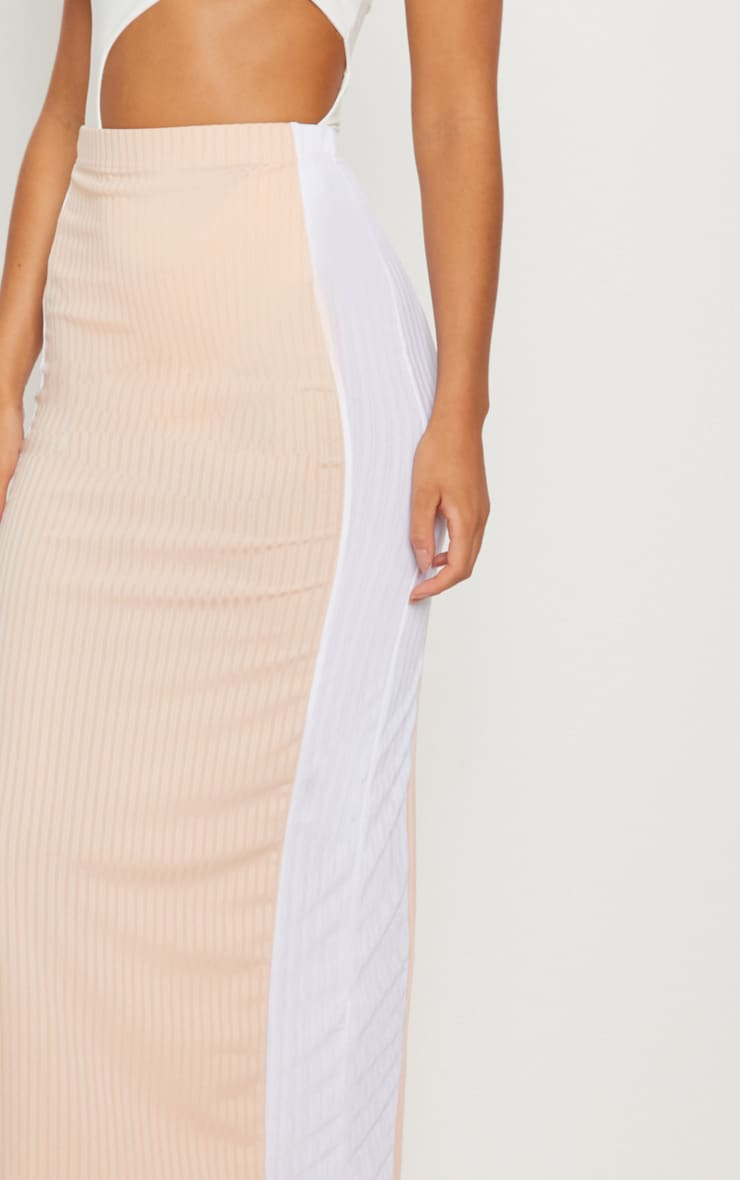 Pale Pink Colour Block Midaxi Skirt  5