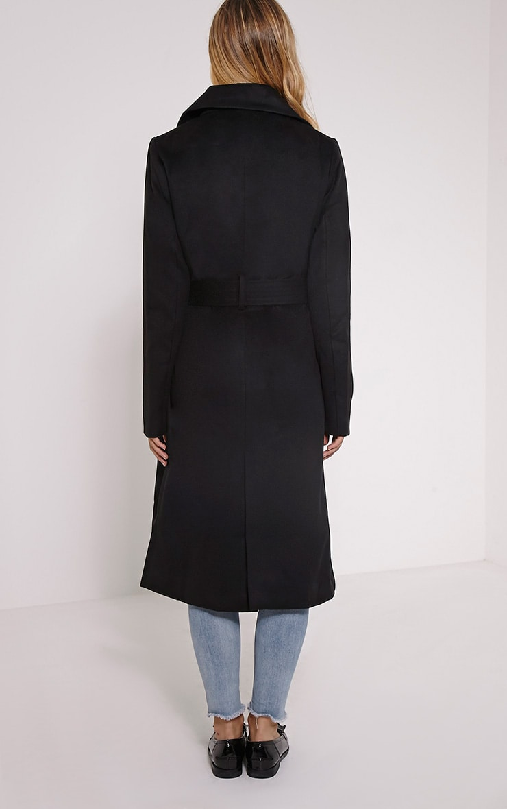 Gwenore Black Belted Waisted Longline Coat 2