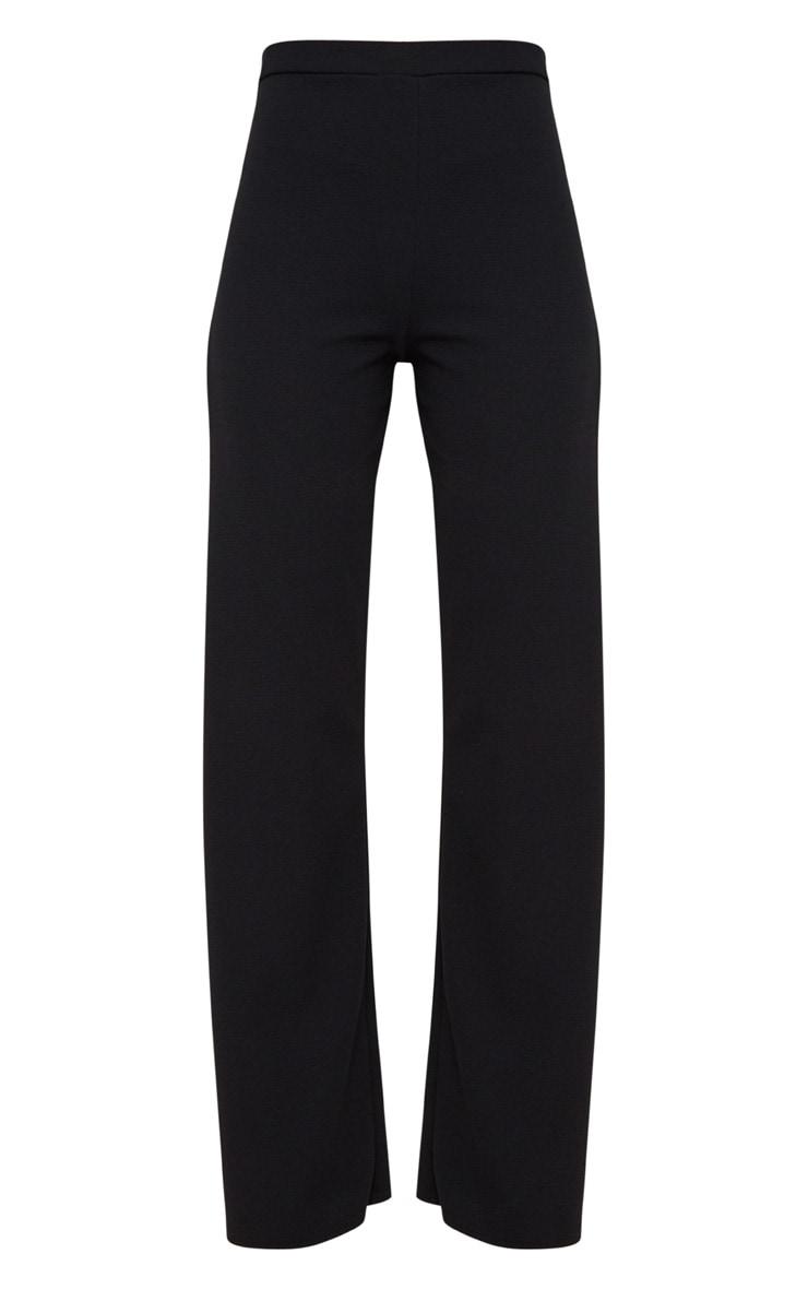 Black Split Detail Wide Leg Trousers 3