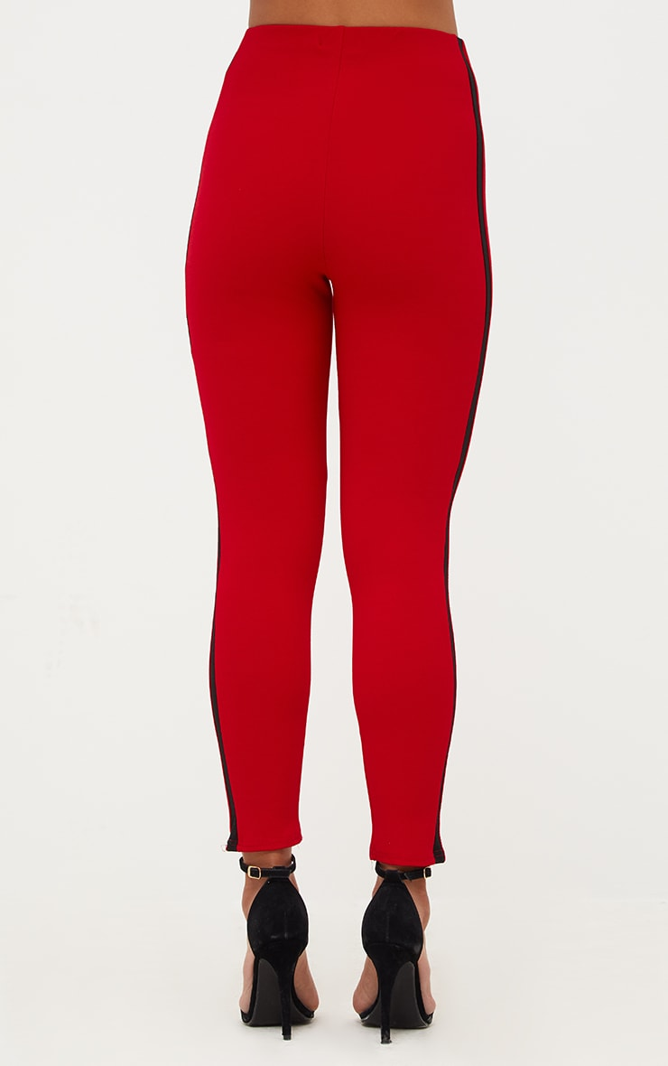 Red High Waisted Track Trousers 4