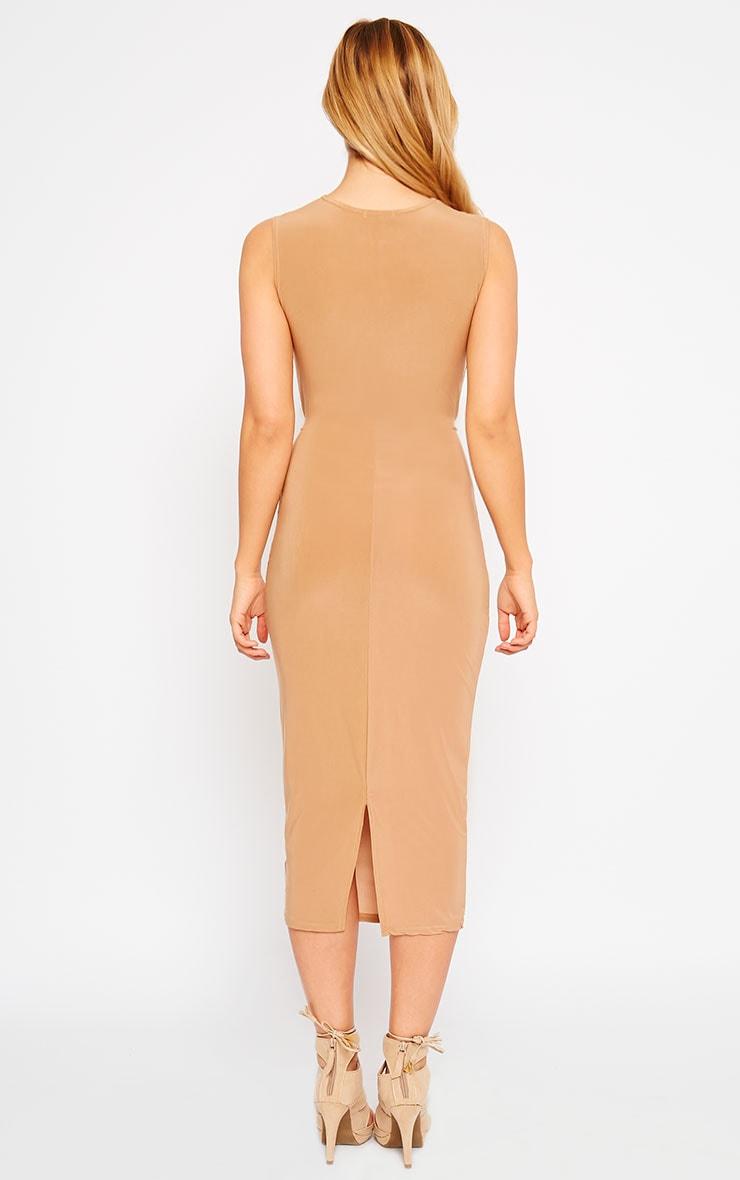 Zafia Camel Sleeveless Midi Dress 2