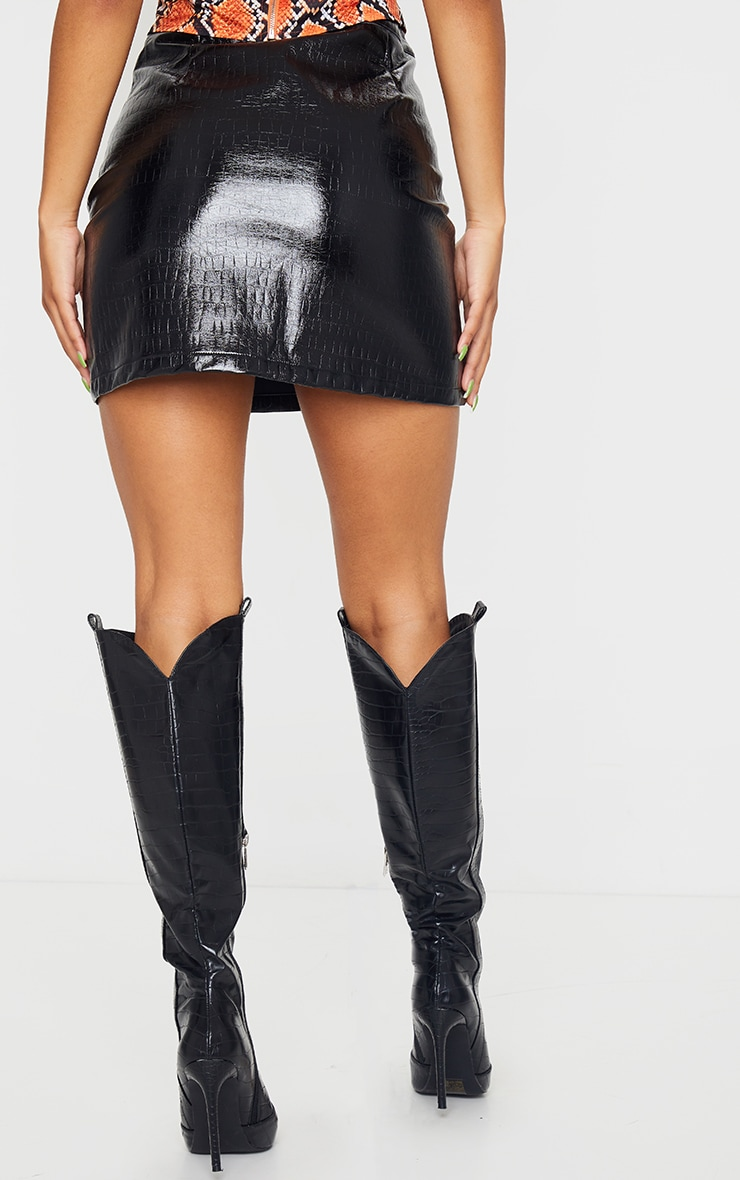 Black Faux Leather Croc Effect Mini Skirt 3