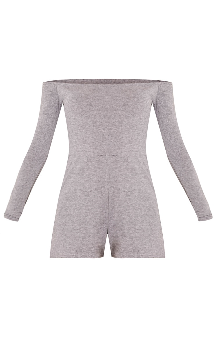 Basic Grey Bardot Jersey Playsuit 3
