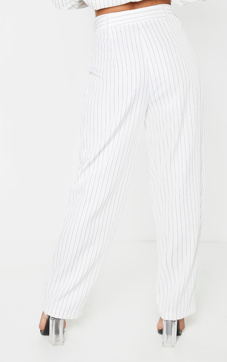 Cream Pinstripe Woven High Waisted Cigarette Pants 3