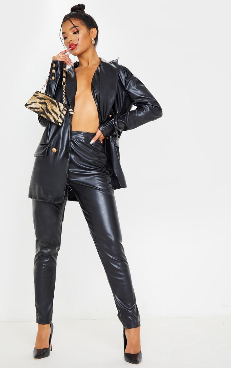 Black PU High Waisted Cigarette Trouser 1