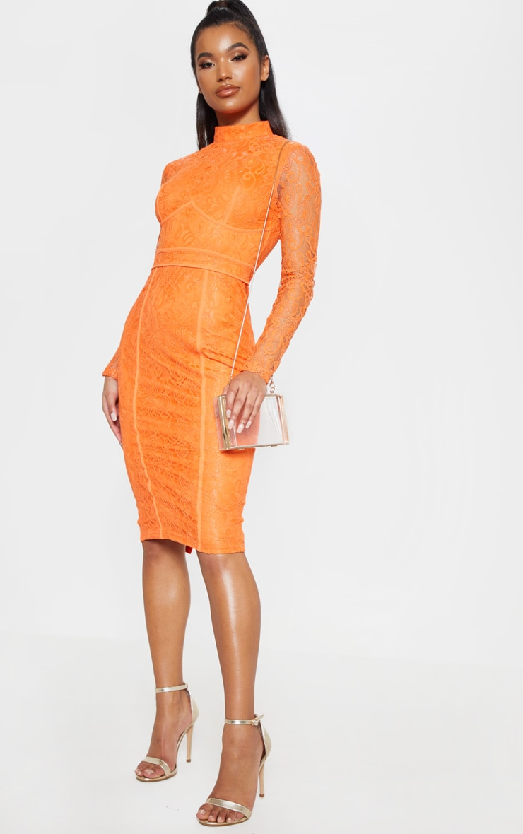 Bright Orange Lace Binding Detail High Neck Midi Dress 1
