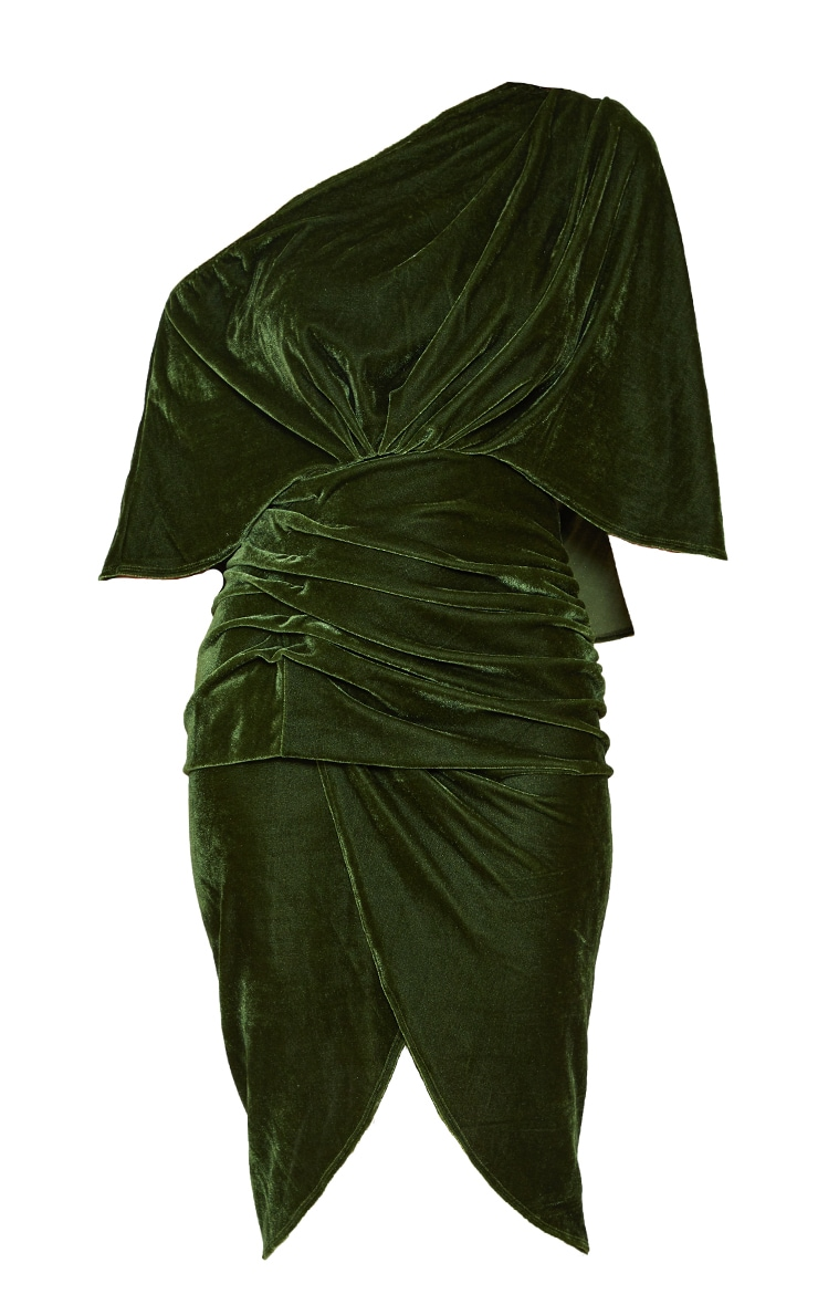 Olive Velvet Off Shoulder Drape Midi Dress 5
