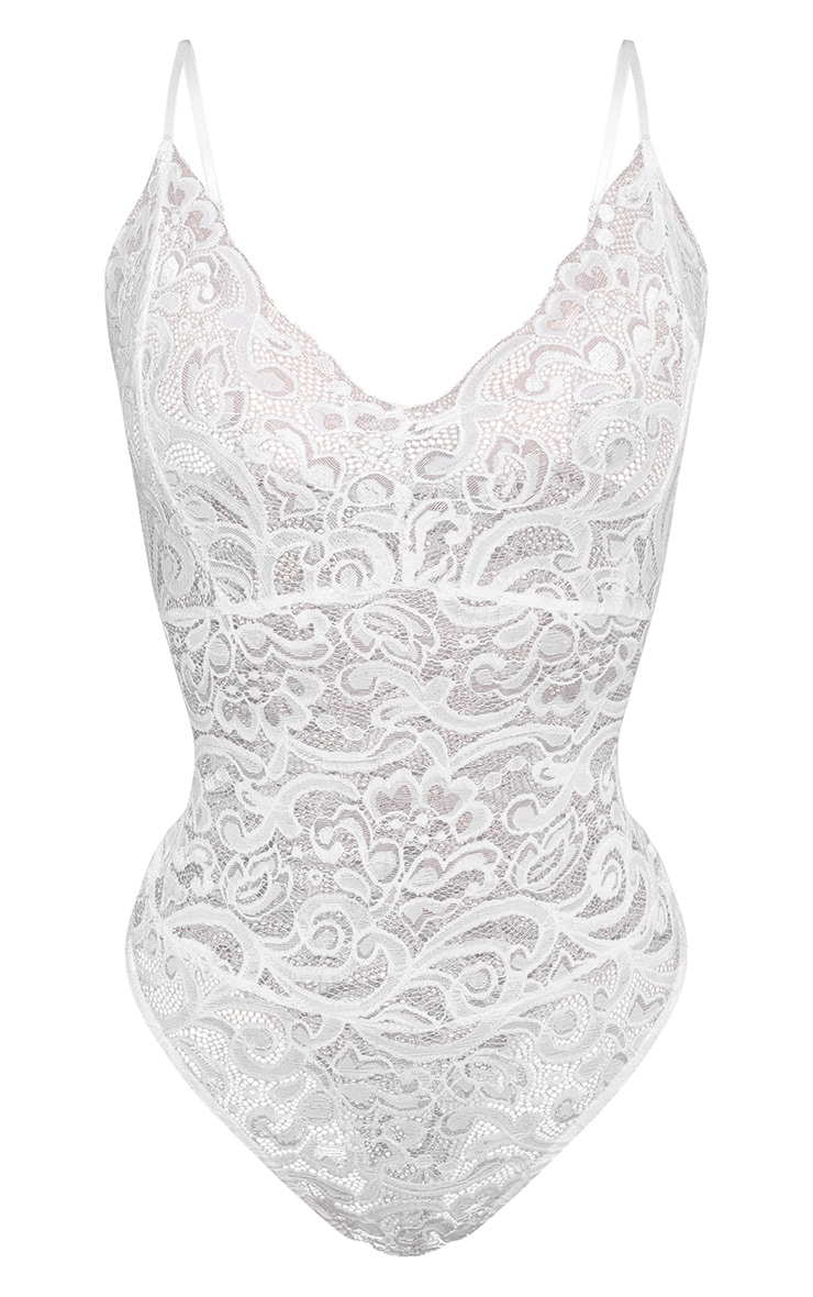 Shape White Sheer Lace Bodysuit 3