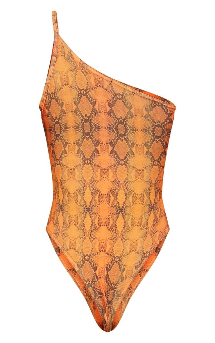 Orange Snake Print Slinky One Shoulder Bodysuit  4