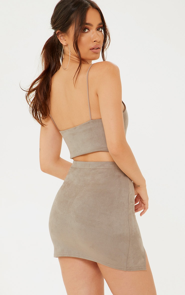 Grey Faux Suede Crop Top 2