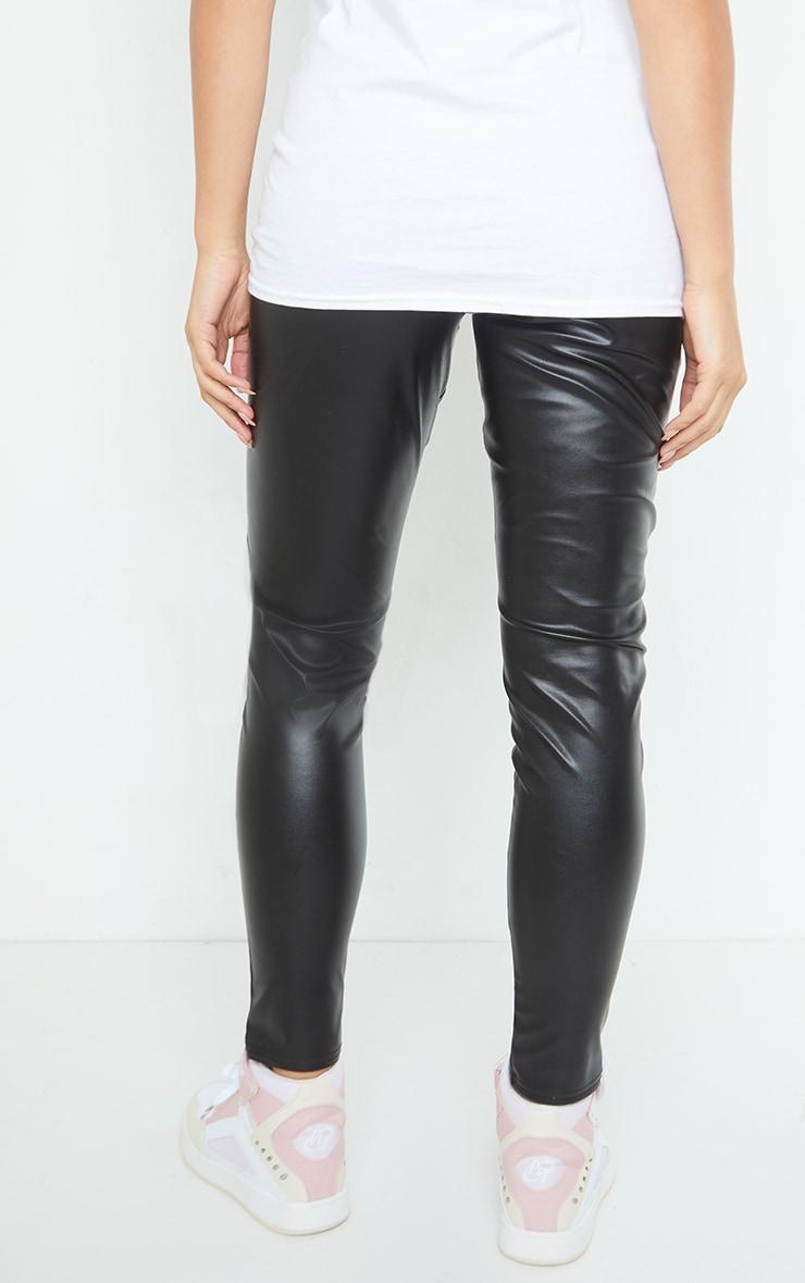 Maternity Black Faux Leather Over Bump Leggings 3
