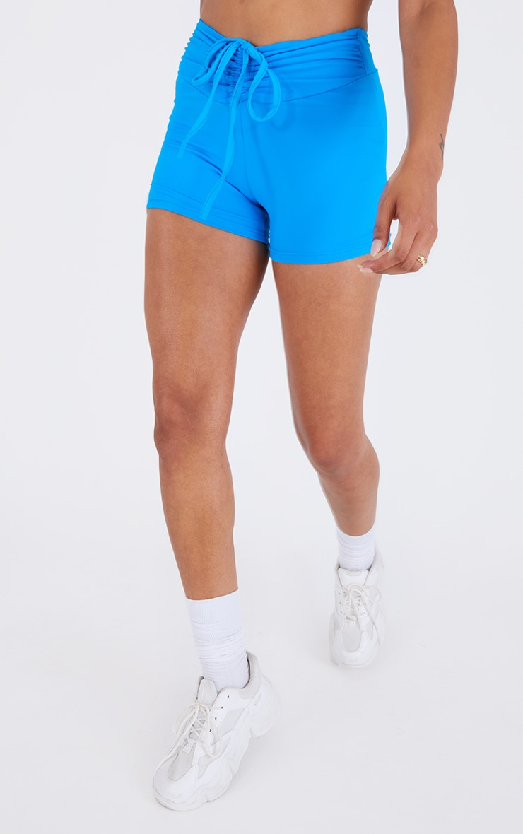 Blue Ruched Dipped Waist Sport Booty Short 2