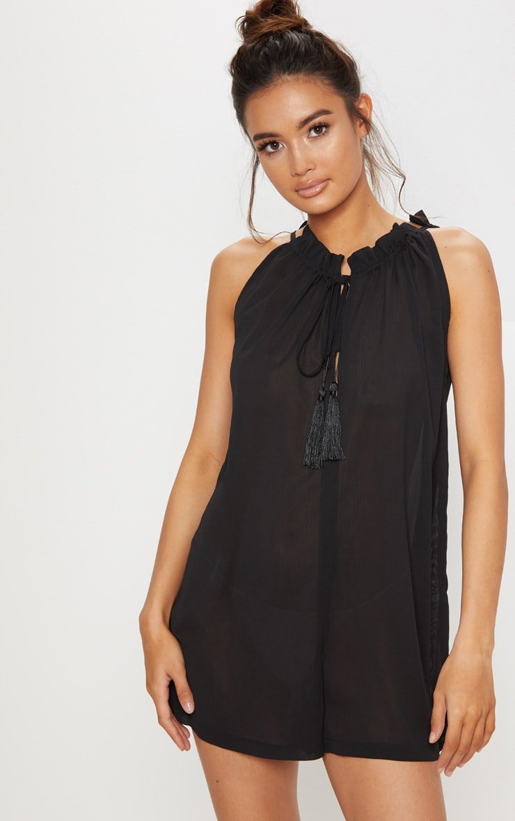 Black Sleeveless Tassel Front Relaxed Playsuit 1