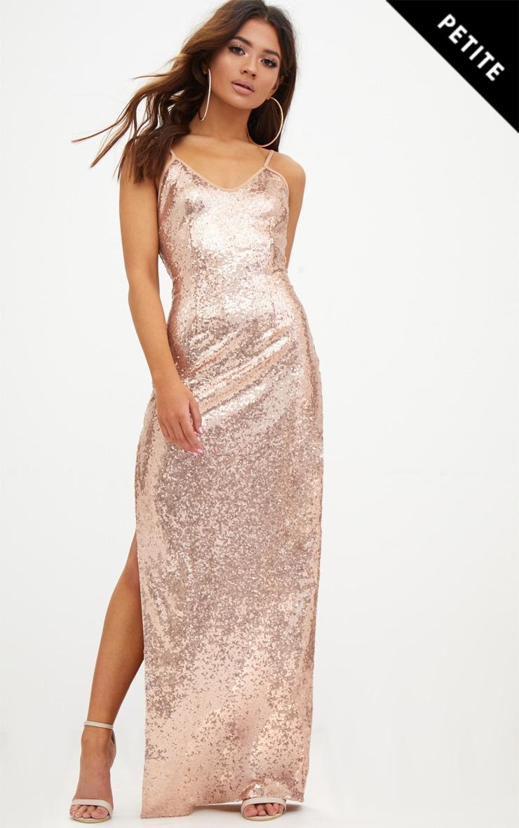 Petite Rose Gold Side Split Sequin Maxi Dress 1