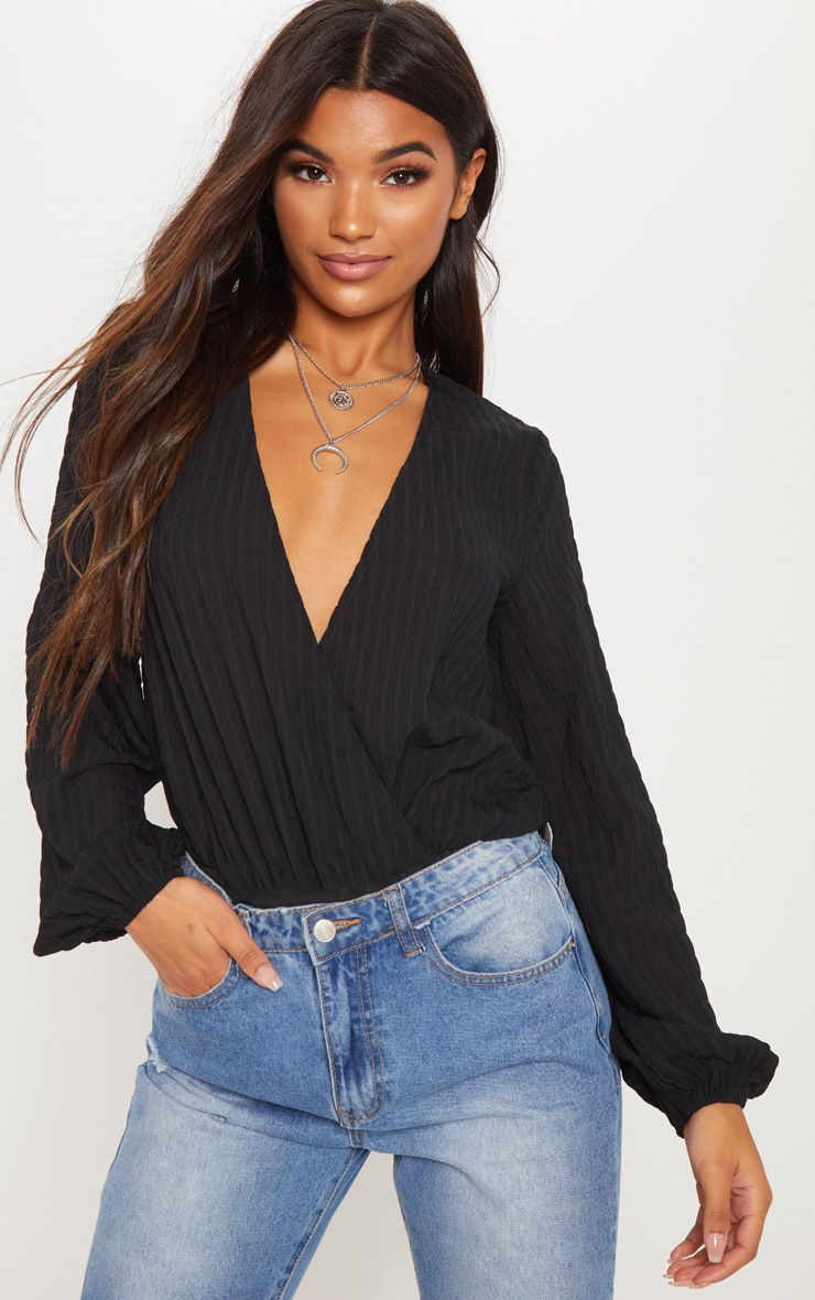 Black Woven Textured Plunge Long Sleeve Bodysuit 5