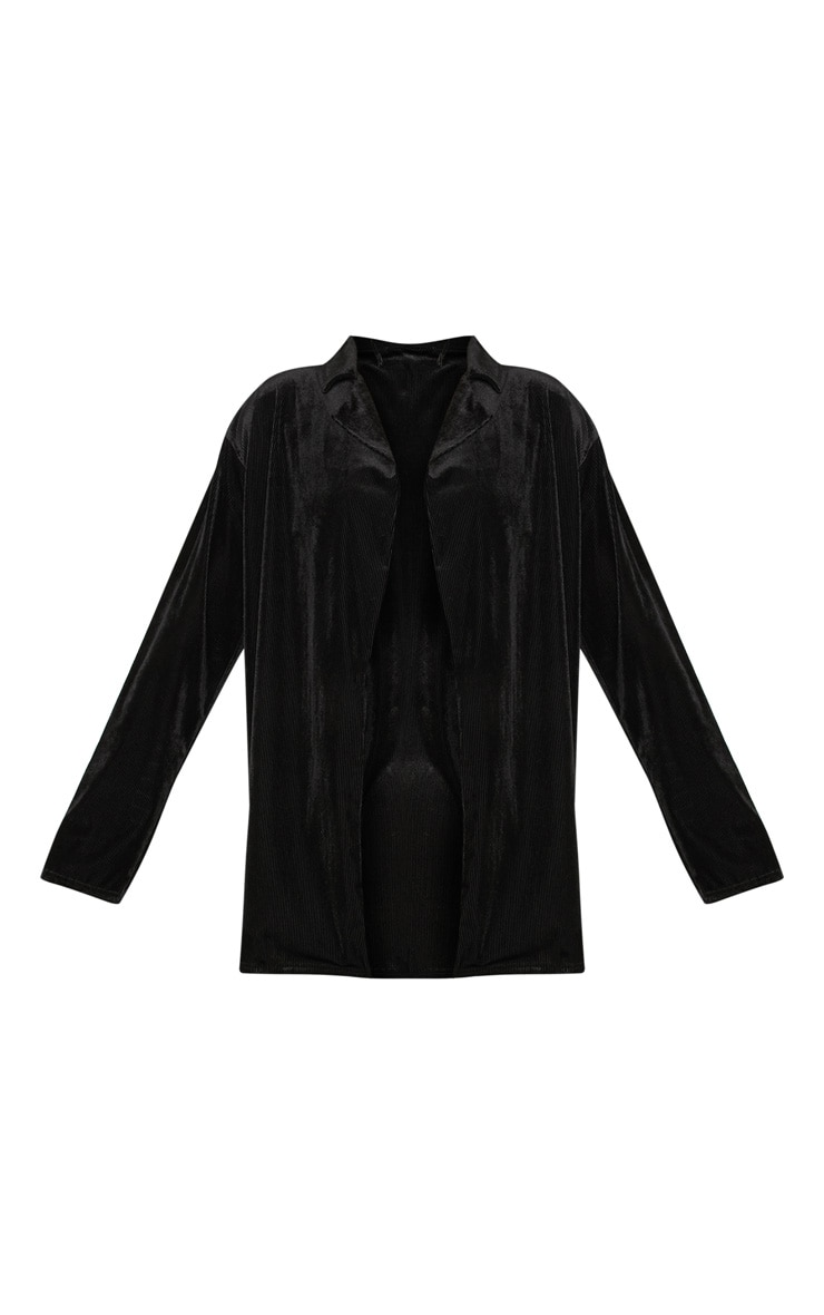 Black Ribbed Velvet Oversized Blazer  3