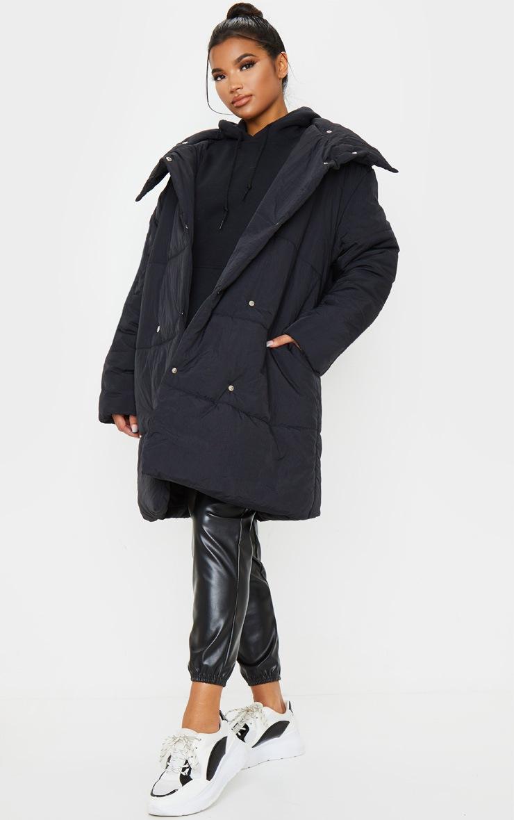 Black Midi Wrap Puffer 3