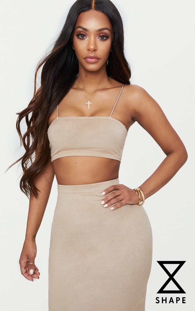 Shape Stone Faux Suede Strappy Straight Neck Crop Top
