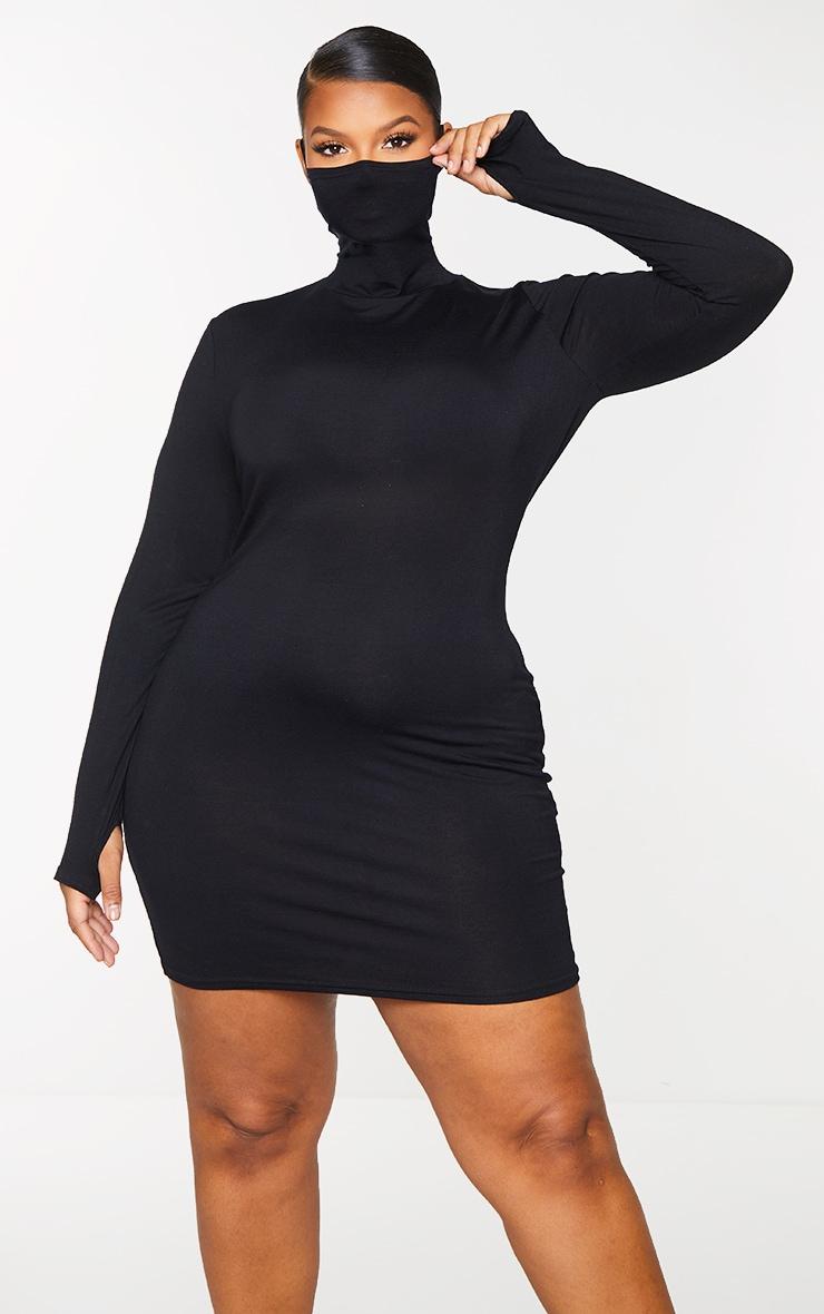 Plus Black Jersey Long Sleeve Mask Bodycon Dress 3