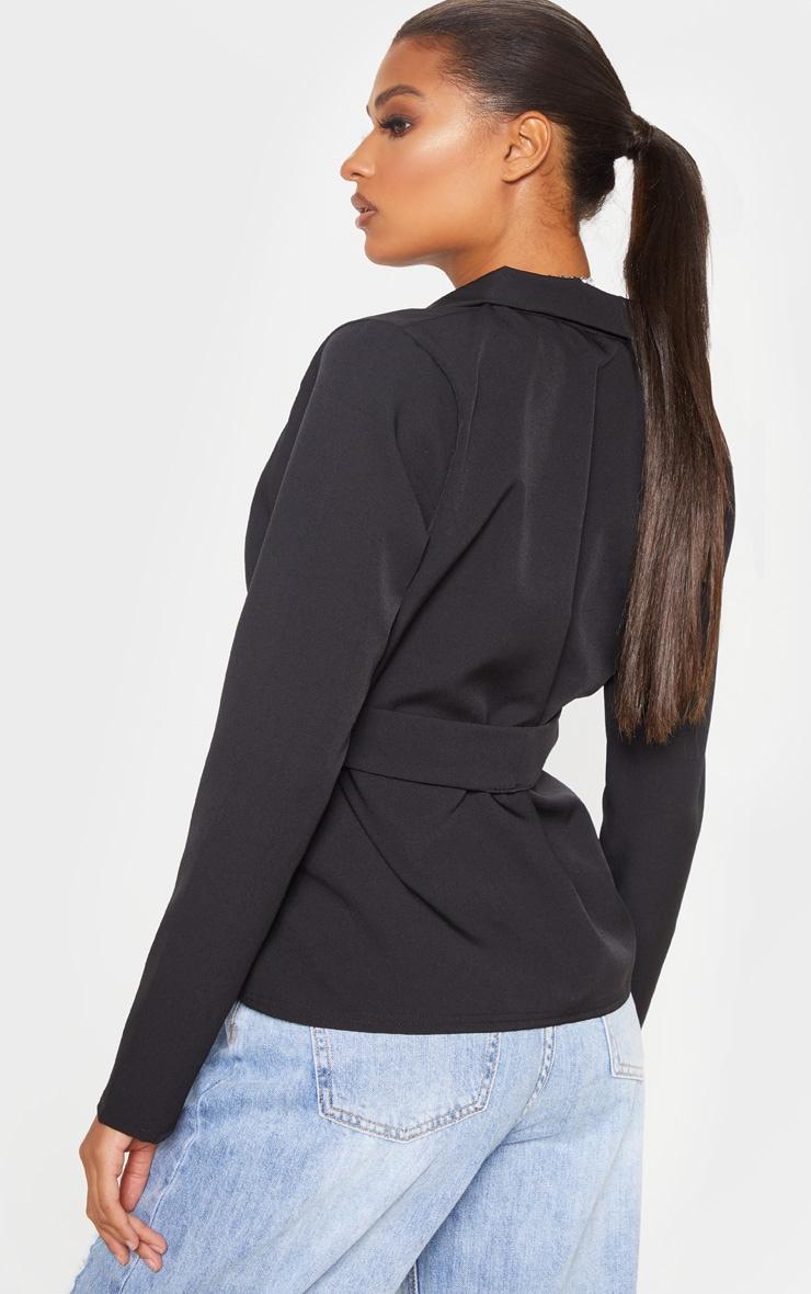 Black Belted Detail Blazer 2