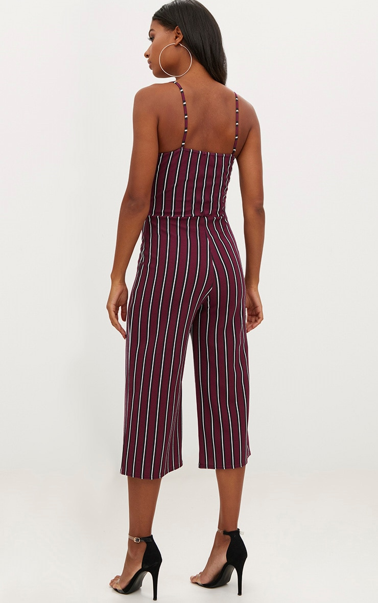 Burgundy Stripe Culotte Jumpsuit 2