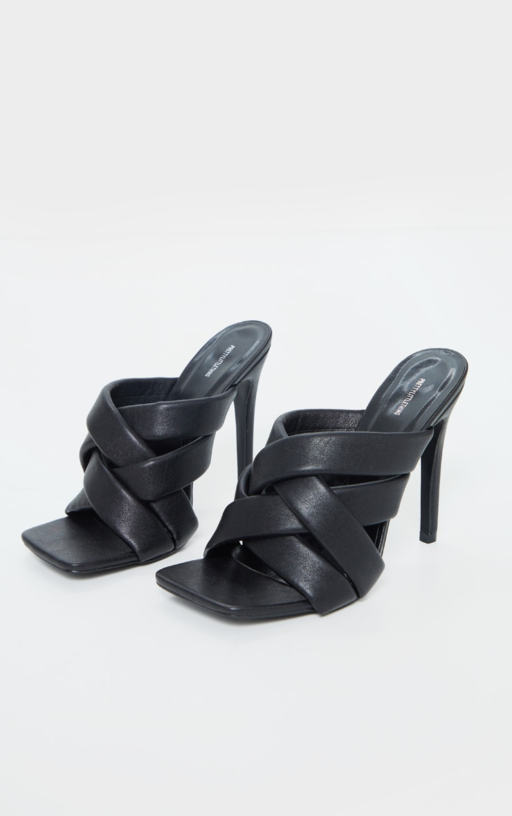Black Wide Fit Quilted Woven Strap High Mule Heels 3