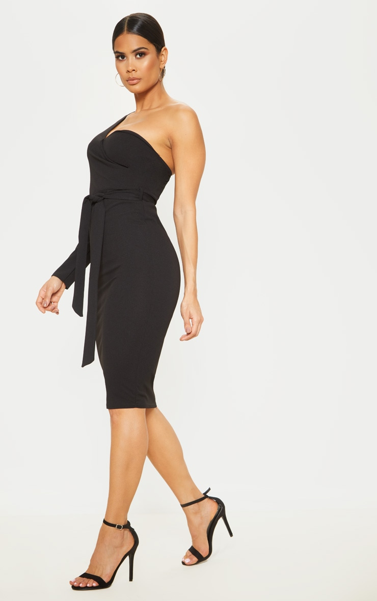 Black One Shoulder Tie Waist Midi Dress 4
