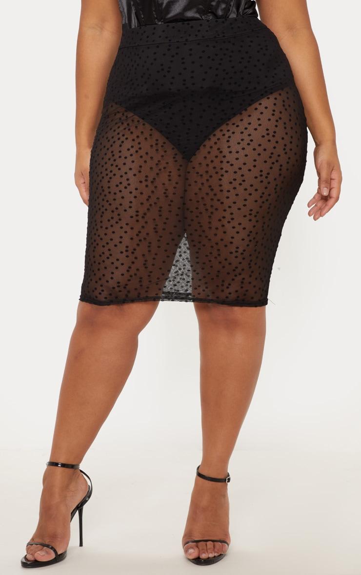 Plus Black Sheer Dobby Mesh Midi Skirt  2