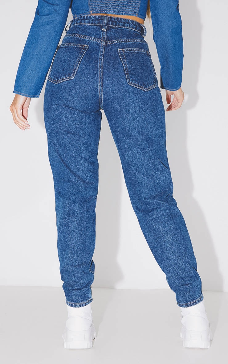 PRETTYLITTLETHING Dark Blue Mom Jean 4