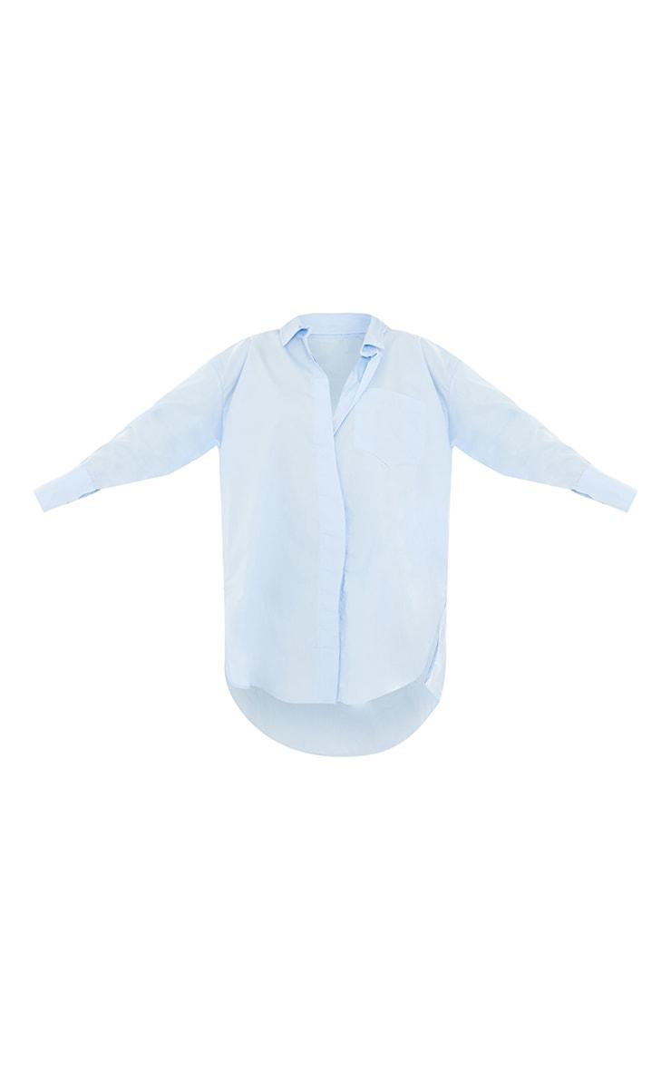 Tall Blue Poplin Split Side Detail Shirt Dress 5