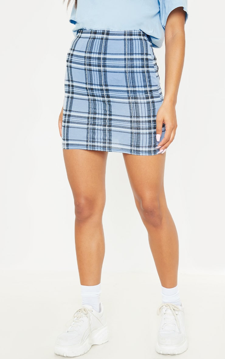 Pastel Blue Check Print Mini Skirt 4