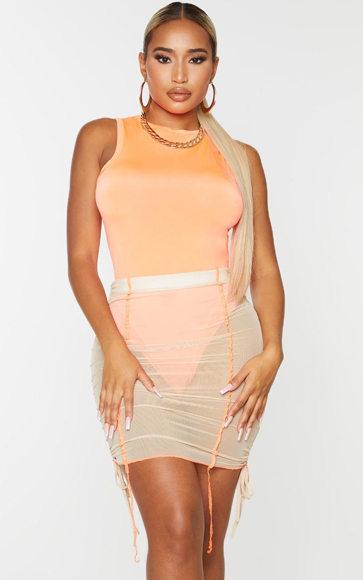 Shape - Body moulant orange vif sans manches 1