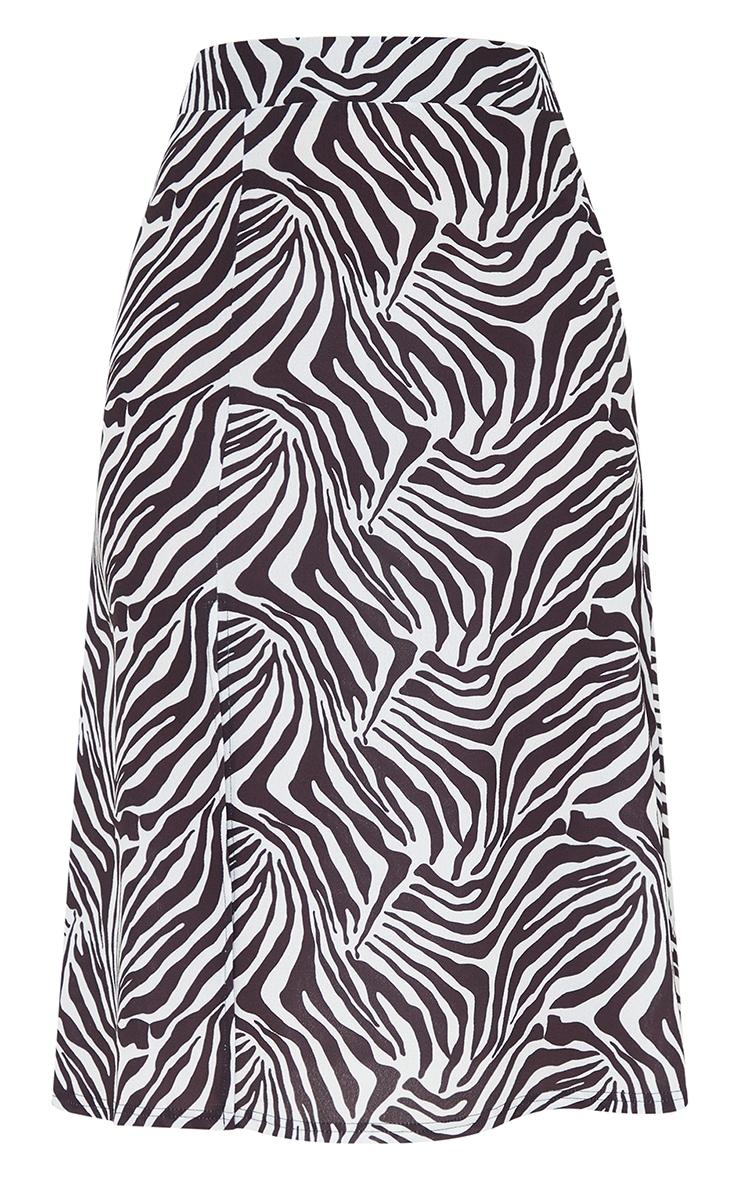 Monochrome Zebra Print Floaty Midi Skirt 5