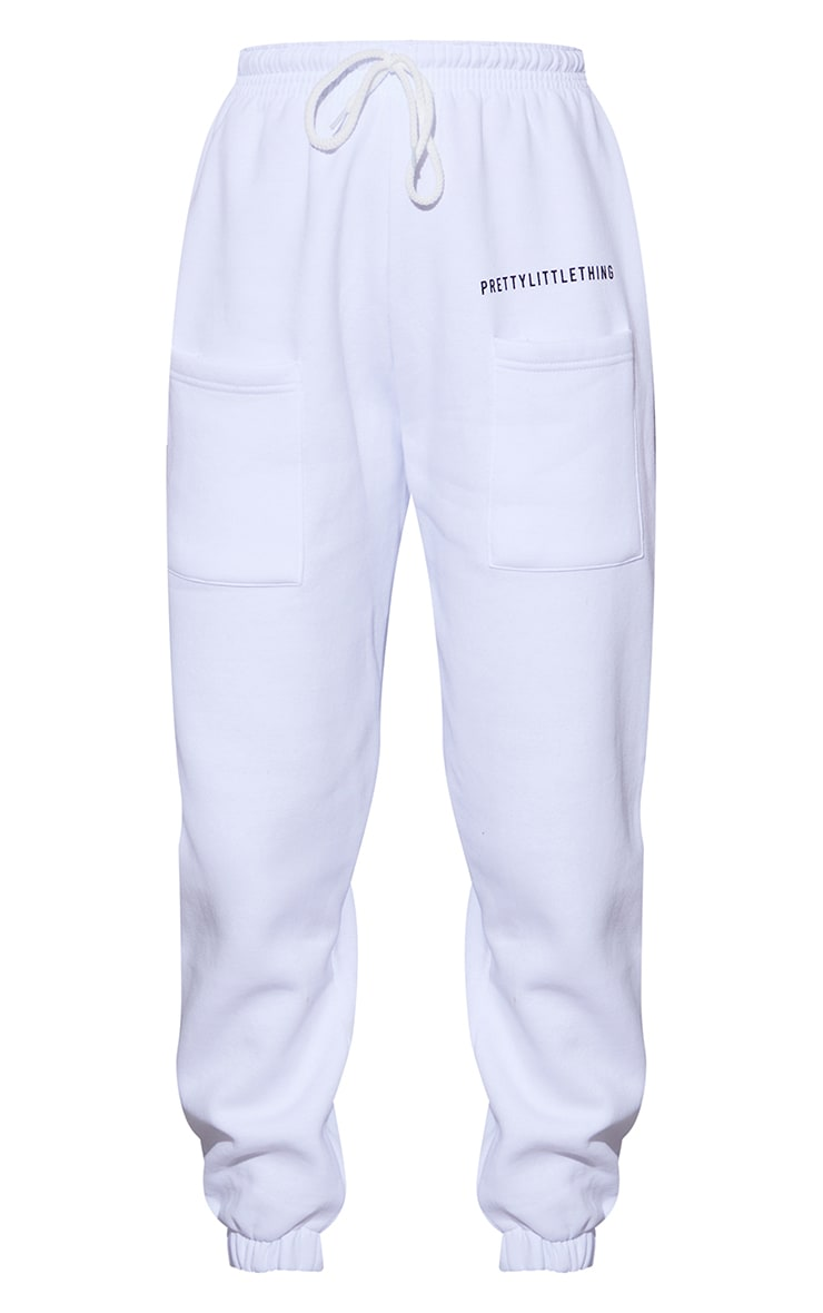 PRETTYLITTLETHING White Printed Pocket Thigh Casual Joggers 5