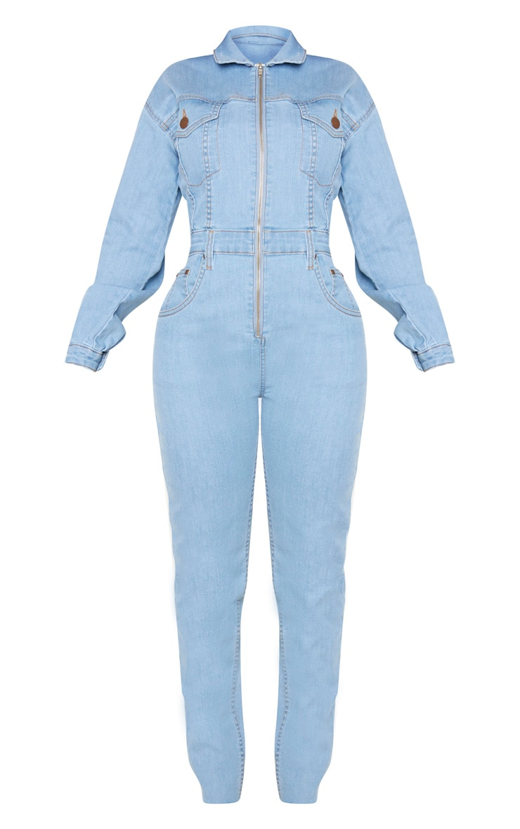 Shape Light Wash Denim Zip Front Jumpsuit 3