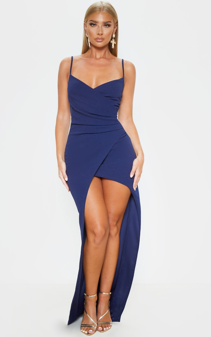 Midnight Blue Wrap Front Crepe Maxi Dress 1