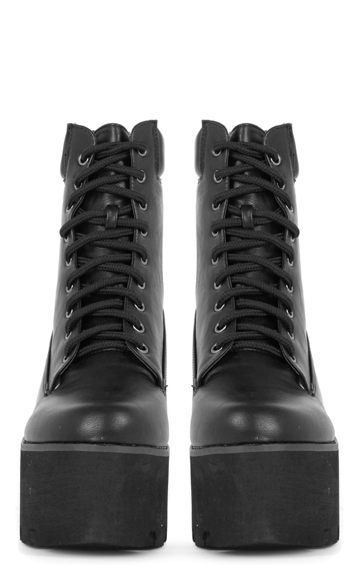 Nova Black Lace Up Wedged Boot 2