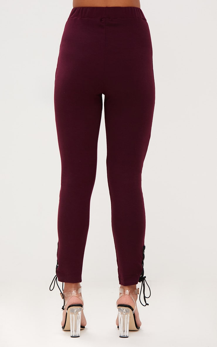 Burgundy Lace Up Side Joggers 4