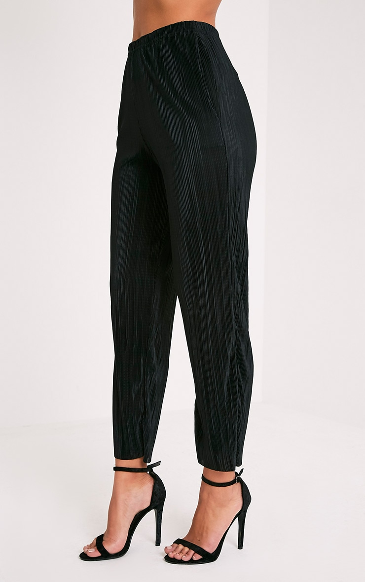 Lianne Black Soft Pleated Cigarette Trousers 4