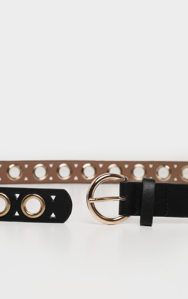 Black PU Gold Eyelet Skinny Belt 2