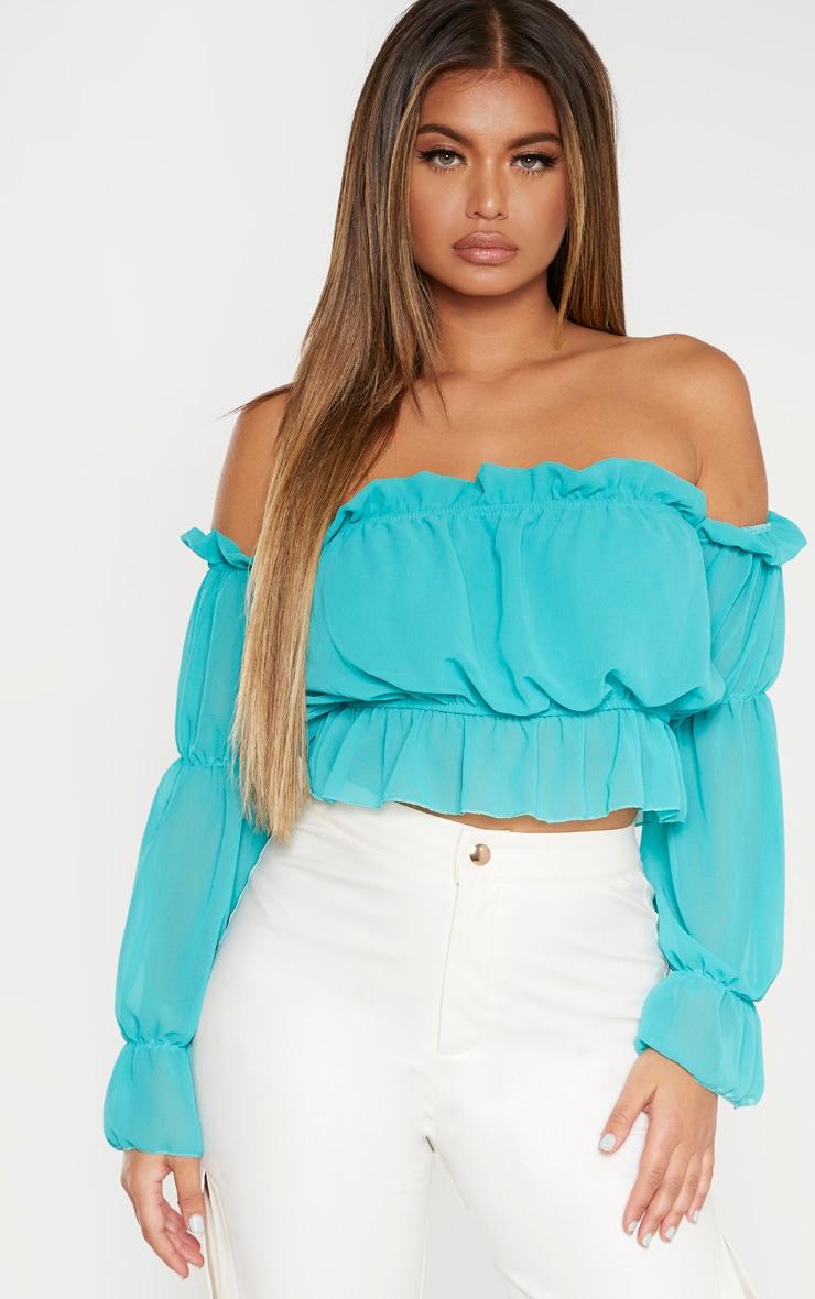 Dusty Turquoise Woven Ruffle Bardot Flared Sleeve Blouse 1