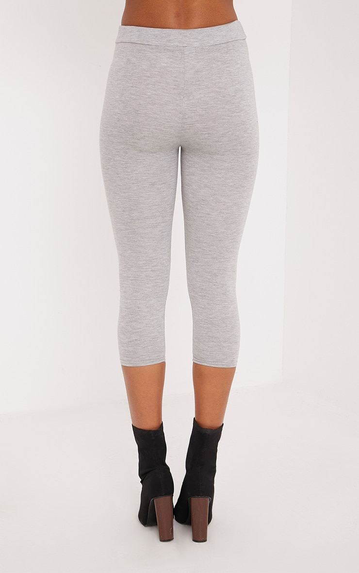 Basic Grey Cropped Jersey Leggings 4