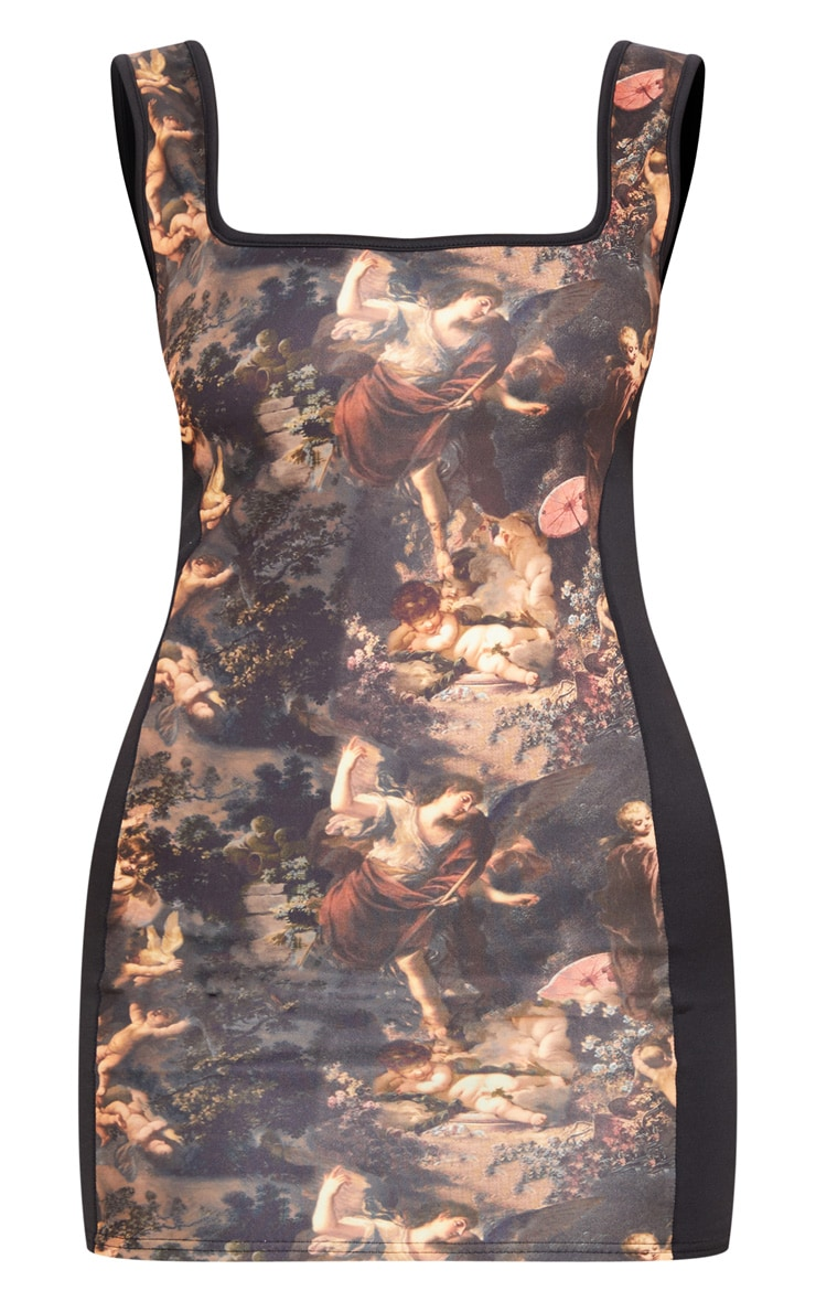 Black Renaissance Print Panel Square Neck Bodycon Dress 3